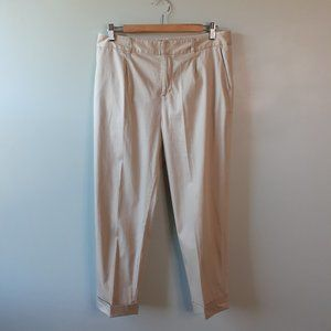 Kate Spade Pleated Front Cropped Khaki Trouser 10